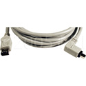 6-Pin to Right Angle 4-Pin FireWire Cable 6 Foot Black