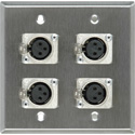 Contractor Series Dual Gang Wall Plate with 4 Female XLR