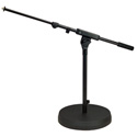 K&M 25960  Low Profile Round Base Mic Stand With Telescopic Boom Arm Black