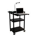 Luxor LP42LE-B Plastic AV Cart with Electric & Laptop Shelf 42Hx24W