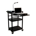 Luxor LP42LPE-B Plastic AV Cart w/Electric & Laptop Shelf & Side Shelf 42Hx24W