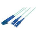 1-Meter 50/125 Fiber Optic Patch Cable Multimode Duplex LC to SC - 10-Gig Aqua