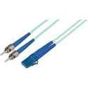 1-Meter 50/125 Fiber Optic Patch Cable Multimode Duplex ST to LC - 10-Gig Aqua