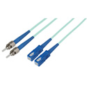 1-Meter 50/125 Fiber Optic Patch Cable Multimode Duplex ST to SC - 10-Gig Aqua
