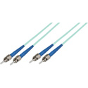 1-Meter 50/125 Fiber Optic Patch Cable Multimode Duplex ST to ST - 10-Gig Aqua