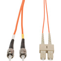 1-Meter 62/125 Fiber Optic Patch Cable Multimode Duplex ST to SC - Orange