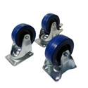 Penn-Elcom W9008Z 4 Inch Blue Wheel Swivel Caster with Brake and 440 Lb. Rating