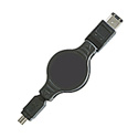 1394 6p to 4p Retractable Firewire Cable 32 Inch