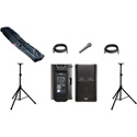 PA System 2 QSC K12 2-way Powered Loudspeaker 2 Stands & Bag 2 Cables 1 Mic