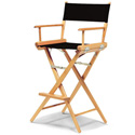 Tall Directors Chair  Natural Frame with Black Canvas