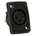 Whirlwind WC3FQBK Black Female XLR Chassis Mount Connector Numbered 1
