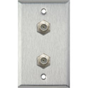 1G Stainless Steel Wall Plate w/2 Coax F Connector Feed-Thru Barrels