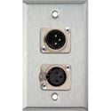 Neutrik Single 3-Pin XLR-M & Single XLR-F 1-Gang Stainless Wall Plate