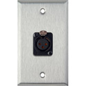 1-Gang Stainless Steel Wall Plate w/Neutrik 3-Pin XLR-F-Terminal Block
