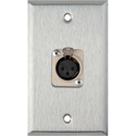 1-Gang Stainless Steel Wall Plate w/1 Neutrik 3-Pin XLR-F Connector