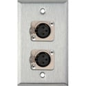 1-Gang Stainless Steel Wall Plate w/2 Neutrik Latching 3-Pin XLR Female Connecto