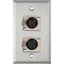 1-Gang Stainless Steel Wall Plate w/2 Neutrik Latching 3-Pin XLR Female Connectors