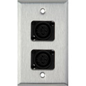 1-Gang Stainless Steel Wall Plate with 2 Latchless 3-Pin Female XLRs
