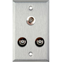 1-Gang Stainless Steel Wall Plate with 2 RCA Barrels and 1 BNC Barrel