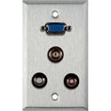 1G Stainless Wall Plate w/1 HD15 VGA/2 RCA Barrels & 1 BNC Barrel