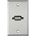 1G Stainless Wall Plate w/One HD 15-Pin Female Rear Solder Points