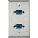 1G Stainless Wall Plate w/2 HD 15-Pin Female Rear Solder Connectors