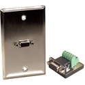 1G Stainless Steel Wall Plate with One HD15-Pin Female Terminal block
