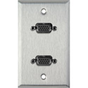 1G Stainless Steel Wall Plate with Two VGA HD 15-Pin Female Barrels