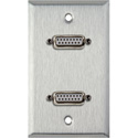 1G Stainless Wall Plate w/Two 15-Pin Female Rear Solder Connectors