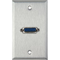 1G Stainless Steel Wall Plate with Single 15-Pin Female Barrel