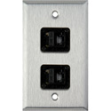 1-Gang Stainless Steel Wall Plate with Two TecNec RJ45 Barrels