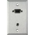 1G Stainless Steel Plate w/ 15-Pin HD Female Barrel - Stereo Mini Jack FeedThru