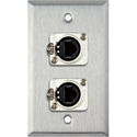 1G Stainless Wall Plate w/2 Neutrik RJ45 To Rear Krone Connectors