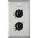1G Stainless Wall Plate w/2 Neutrik RJ45 To Rear IDC110 Terminals