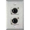 1G Stainless Steel Wall Plate with 2 Neutrik NE8FDP Barrel Connectors