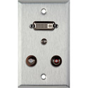1 Gang Stainless Steel Wall PLate w/ 1 DVI-29 1 3.5st Ft & 2 RCA FT