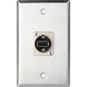MCS WPL-1212 1-Gang Stainless Steel Wall Plate with 1 USB A to B Barrels