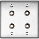 2G Stainless Steel Wall Plate w/4 Switchcraft SW12B Stereo 1/4 Jacks