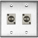 2G Stainless Steel Wall Plate w/2 Canare BCJ-JRU Recessed BNC Barrels