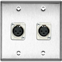 2-Gang Stainless Steel Wall Plate with 2 Latchless 3-Pin XLR Females