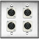 2-Gang Stainless Steel Wall Plate with 4 Latchless 3-Pin XLR Females