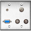 2-Gang Stainless Wall Plate w/1 VGA HD-15/3-RCA Barrels & 1-3.5 Stereo Mini Jack