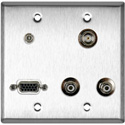2G Stainless Wall Plate w/1-HD15F/1-BNC/2-RCA Barrels and 1-3.5 Stereo Mini Jack