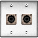 2G Stainless Wall Plate w/2 Neutrik NL8MPR 8 Pole Speakon Connectors