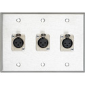 3-Gang Stainless Plate with 3 Latching 3-Pin XLR Female Terminal Block