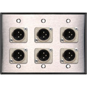 3-Gang Stainless Steel Wall Plate w/6 Latching Neutrik 3-Pin XLR Males