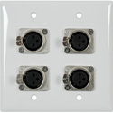 2-Gang White Lexan Wall Plate with 4 Neutrik Latching 3-Pin XLR
