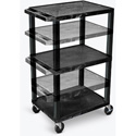 H. Wilson Open Shelf Utility And Audio Visual Carts - (Black)