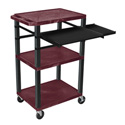 BURGUNDY 42-Inch Tuffy Cart - Black Legs w/Keyboard & Side Shelf Plus Electric