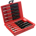 Xcelite 413MM 10 Piece Metric Drilled Shaft Nutdriver Kit in Red Plastic Case